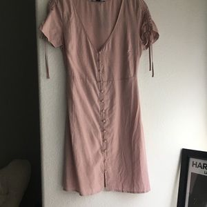 Pink polka dot button up forever 21 dress